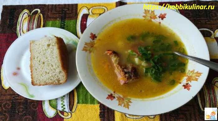 Суп с копчёными рёбрышками