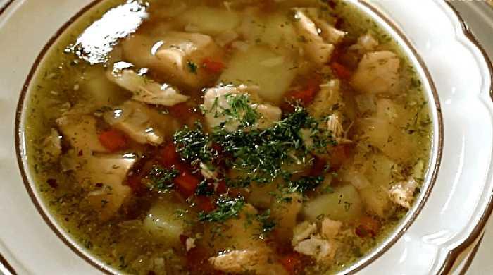 рыбный суп, уха из лосося