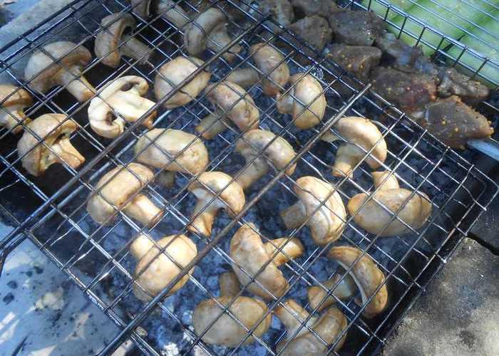 готовим на углях грибы
