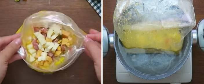 варим омлет в пакете