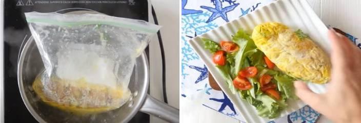 готовый сваренный омлет