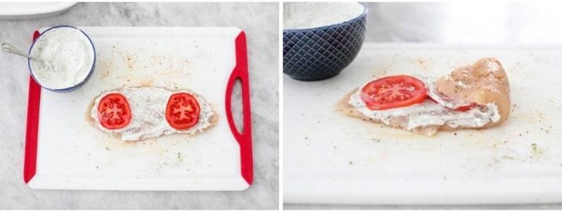 раскладываем дольки помидор
