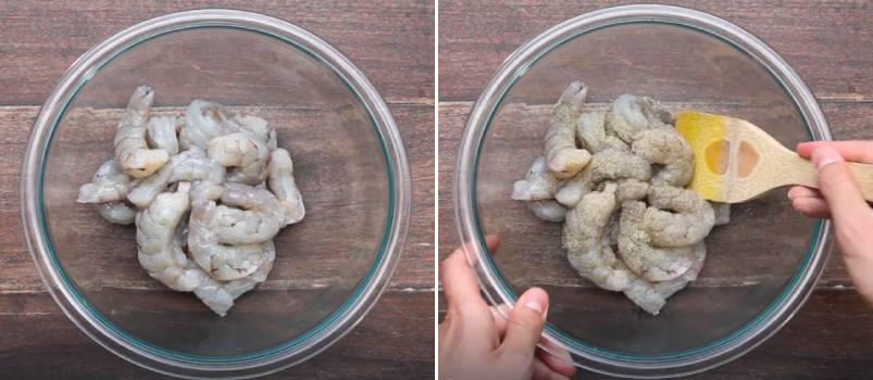 креветки в миске